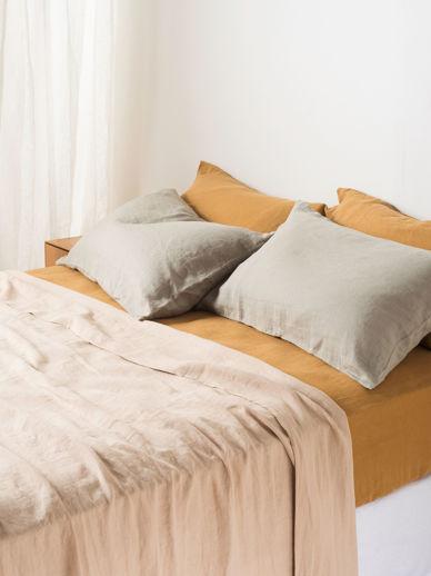 Latte Linen Flat Sheet