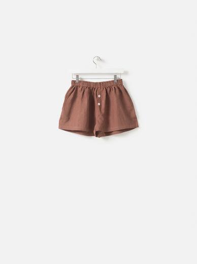 Plum Linen Shorts