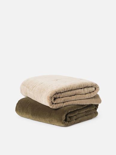 Cotton Velvet Quilted Bedspread