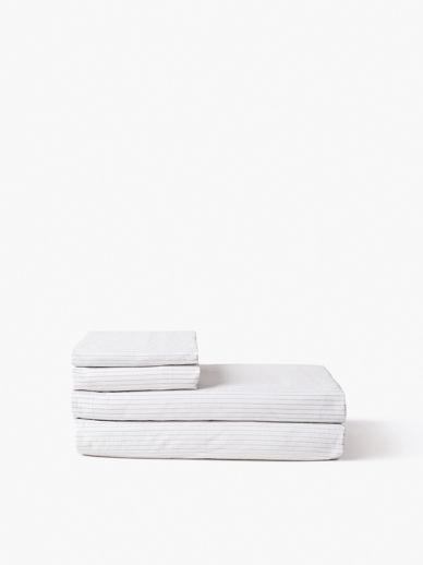 Pinstripe Organic Cotton Flat Sheet